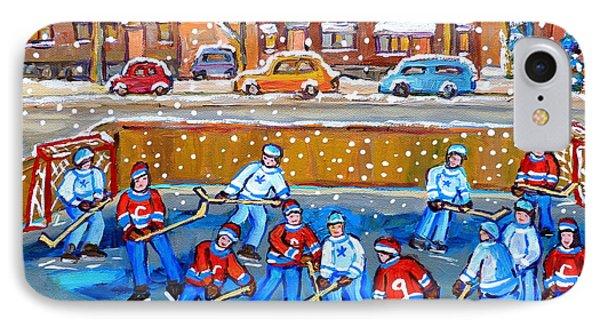 Snowy Rink Hockey Game Montreal Memories Winter Street Scene Painting Carole Spandau IPhone Case by Carole Spandau