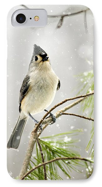 Snowy Songbird IPhone Case by Christina Rollo