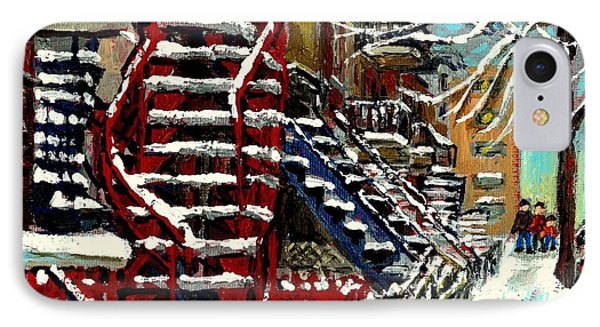 Snowy Steps The Red Staircase In Winter In Verdun Montreal Paintings City Scene Art Carole Spandau IPhone Case by Carole Spandau