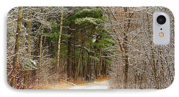 Snowy Tunnel Of Trees IPhone Case by Terri Gostola