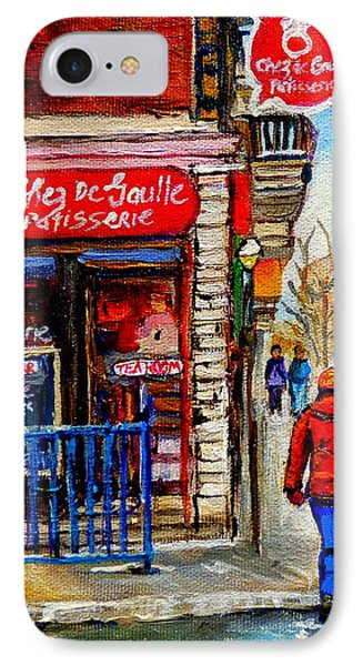 Snowy Walk By The Tea Room And Pastry Shop Winter Street Montreal Art Carole Spandau  Phone Case by Carole Spandau