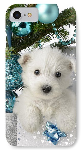 Snowy White Puppy Present IPhone Case by Greg Cuddiford