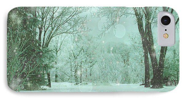 Snowy Winter Night IPhone Case by Mary Wolf