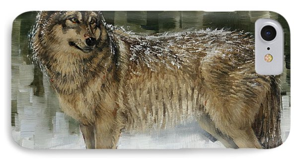 Snowy Wolf IPhone Case by Margaret Stockdale