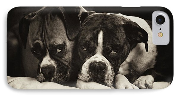 Snuggle Bug Boxer Dogs Phone Case by Stephanie McDowell