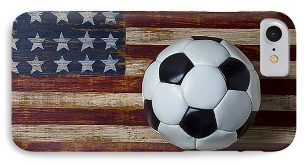 Soccer iPhone 7 Case - Soccer Ball And Stars And Stripes by Garry Gay