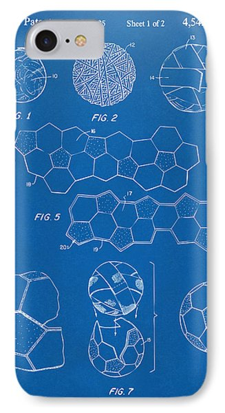 Soccer Ball Construction Artwork - Blueprint IPhone Case
