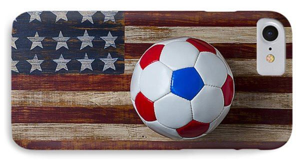 Soccer Ball On American Flag Phone Case by Garry Gay