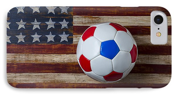 Soccer Ball On American Flag IPhone Case by Garry Gay