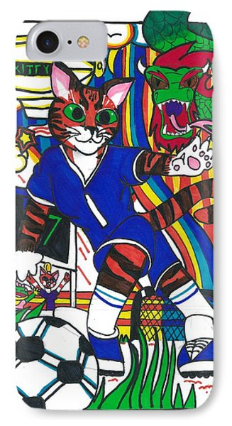 Soccer Cat IPhone Case by Artists With Autism Inc