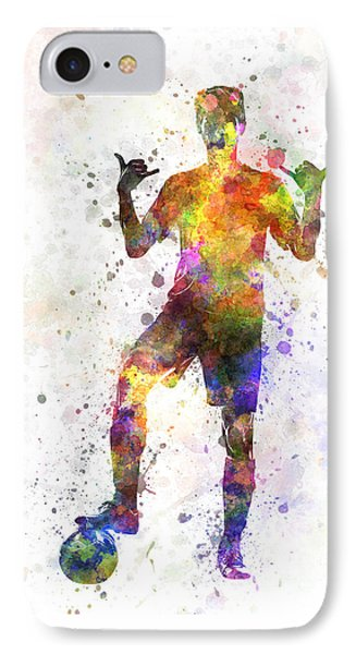 Soccer Football Player Young Man Saluting IPhone Case by Pablo Romero