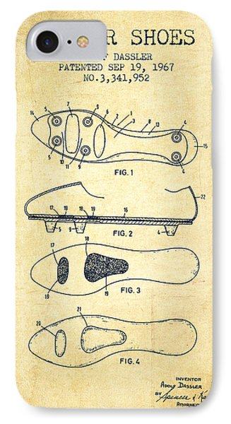 Soccer Shoe Patent From 1967 - Vintage IPhone Case
