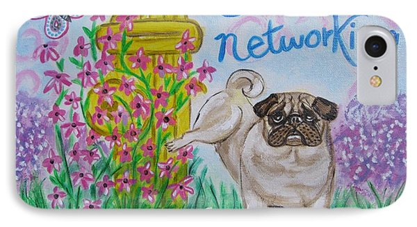 Social Networking Pug Phone Case by Diane Pape