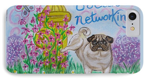 Social Networking Pug IPhone Case by Diane Pape