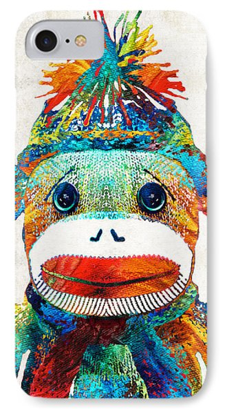 Sock Monkey Art - Your New Best Friend - By Sharon Cummings IPhone Case by Sharon Cummings