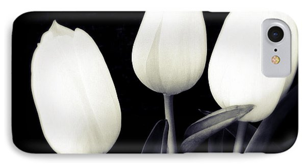 Soft And Bright White Tulips Black Background IPhone Case by Matthias Hauser