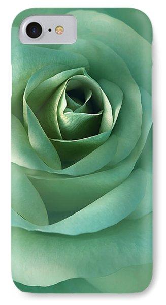 Soft Emerald Green Rose Flower Phone Case by Jennie Marie Schell