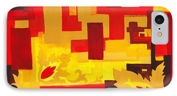 Soft Geometrics Abstract In Red And Yellow Impression I IPhone Case