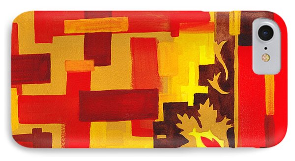 Soft Geometrics Abstract In Red And Yellow Impression II IPhone Case