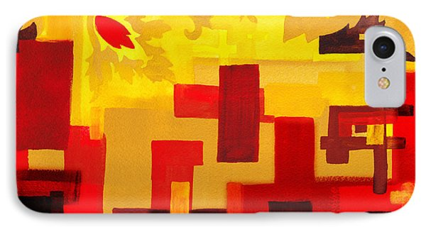 Soft Geometrics Abstract In Red And Yellow Impression IIi IPhone Case