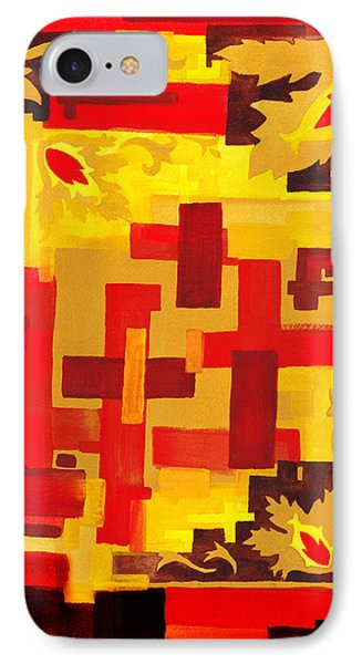 Soft Geometrics Abstract In Red And Yellow Impression Vi IPhone Case