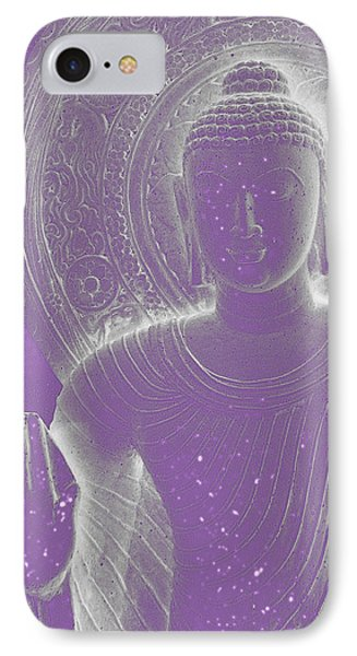 Soft Glow Purple Buddha Phone Case by Sally Rockefeller