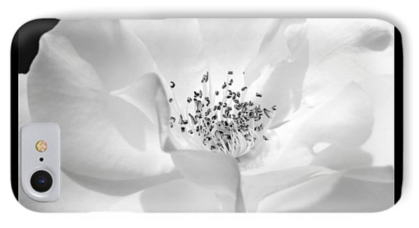Soft Petal Rose In Black And White IPhone Case by Jennie Marie Schell