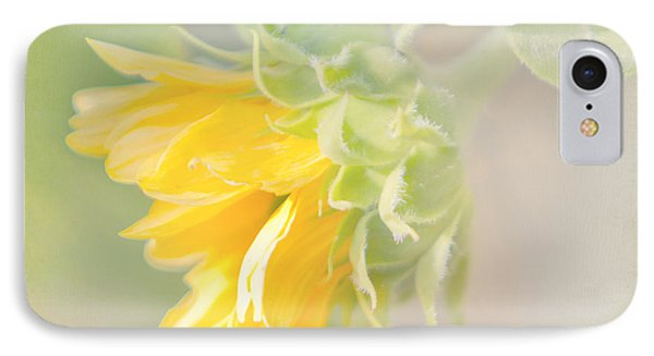 IPhone Case featuring the photograph Soft Yellow Sunflower Just Starting To Bloom by Patti Deters