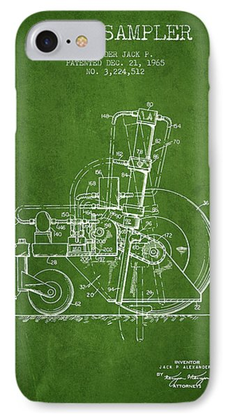 Soil Sampler Machine Patent From 1965 - Green IPhone Case by Aged Pixel
