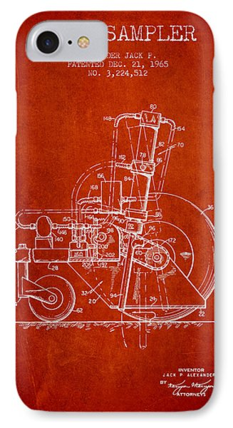 Soil Sampler Machine Patent From 1965 - Red IPhone Case by Aged Pixel