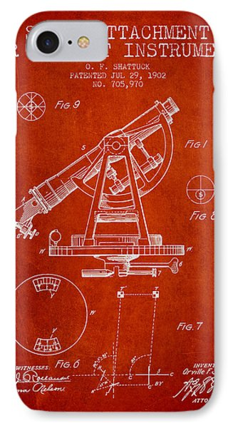 Solar Attachement For Transit Instruments Patent From 1902 - Red IPhone Case by Aged Pixel