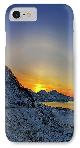 Solar Halo And Sun Pillar At Sunset IPhone Case by Babak Tafreshi
