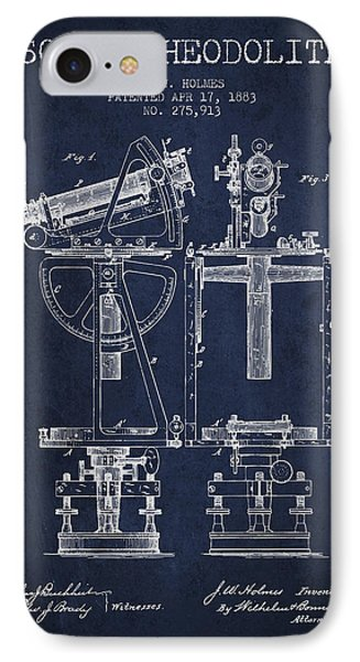 Solar Theodolite Patent From 1883 - Navy Blue IPhone Case by Aged Pixel