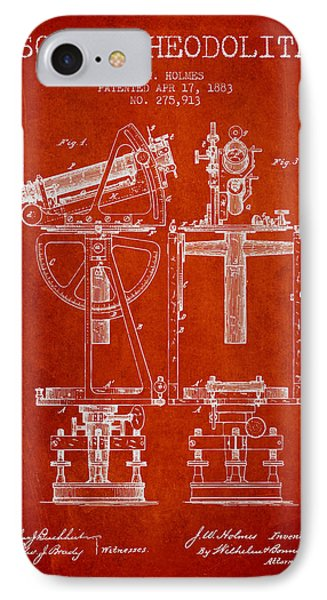 Solar Theodolite Patent From 1883 - Red IPhone Case by Aged Pixel