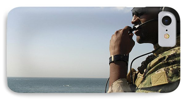 Soldier Instructs Small Boat Maneuvers Phone Case by Stocktrek Images