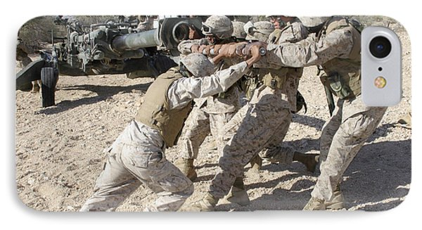 Soldiers Move The Muzzle-end Of A M777 Phone Case by Stocktrek Images