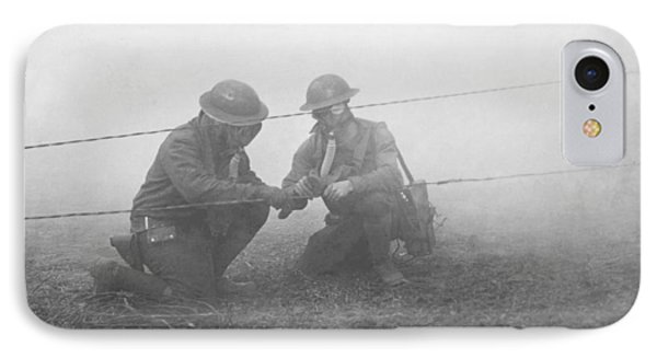 Soldiers Repairing Telephone Wire IPhone Case by Ny State Military Museum