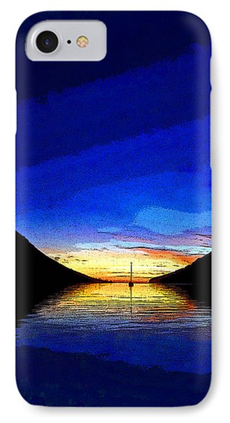 Solitary Sailboat Sunrise Phone Case by Anne Mott