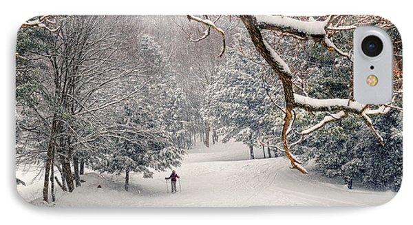 Solitary Skier At Otis Ridge IPhone Case