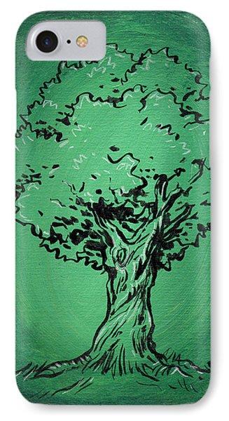 Solitary Tree In Green Phone Case by John Ashton Golden