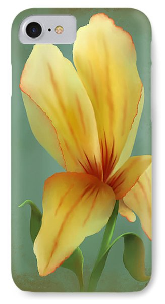 IPhone Case featuring the painting Solitary Yellow Tulip by Sena Wilson