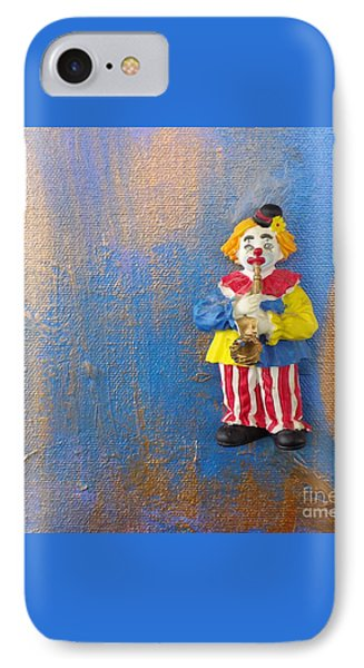 IPhone Case featuring the mixed media Solo Clown Musician by Margaret Harmon