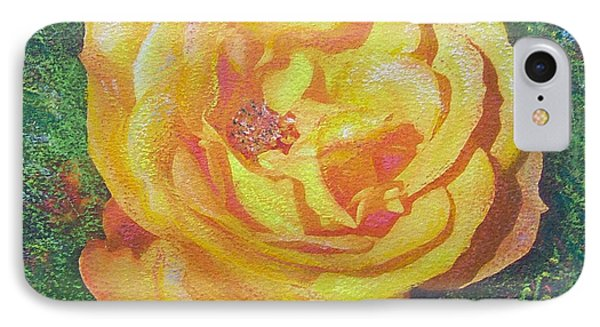 IPhone Case featuring the painting Solo Orange Rose by Richard James Digance