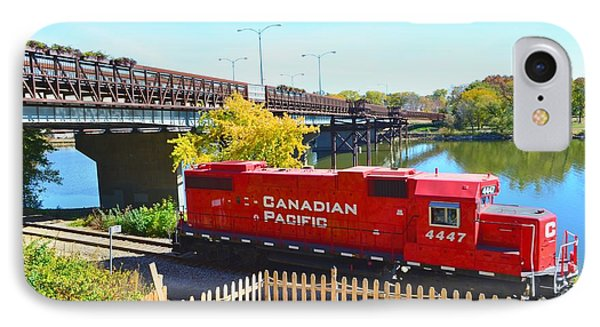 Solo Red Canadian Pacific Engine Along Rock River In Rockford IPhone Case by Jeff at JSJ Photography