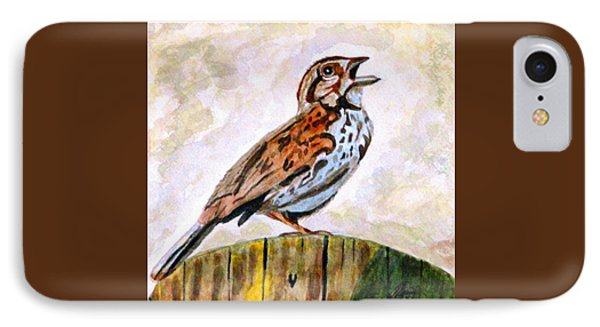 IPhone Case featuring the painting Song Sparrow by Angela Davies