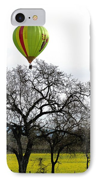 Sonoma Hot Air Balloon Over Mustard Field IPhone Case