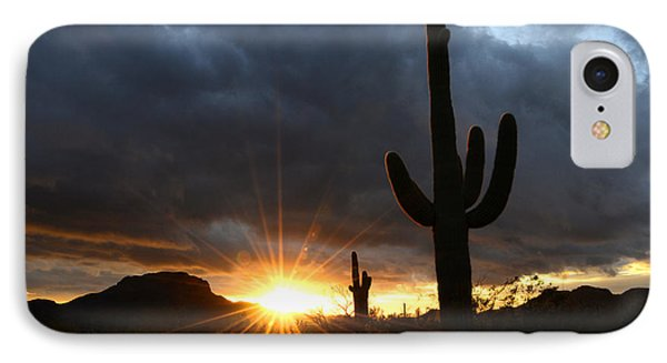 Sonoran Desert Rays Of Hope Phone Case by Bob Christopher
