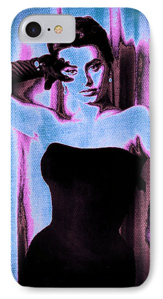 Sophia Loren - Blue Pop Art Phone Case by Absinthe Art By Michelle LeAnn Scott