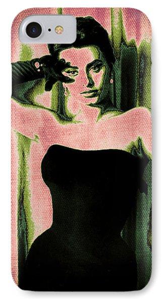 Sophia Loren - Pink Pop Art Phone Case by Absinthe Art By Michelle LeAnn Scott