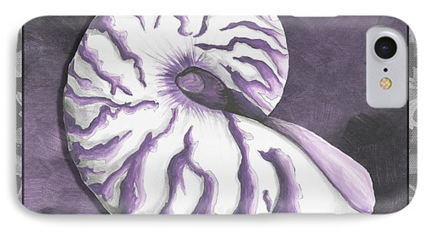 Sophisticated Coastal Art Original Sea Shell Purple Painting Royal Nautilus By Madart Phone Case by Megan Duncanson